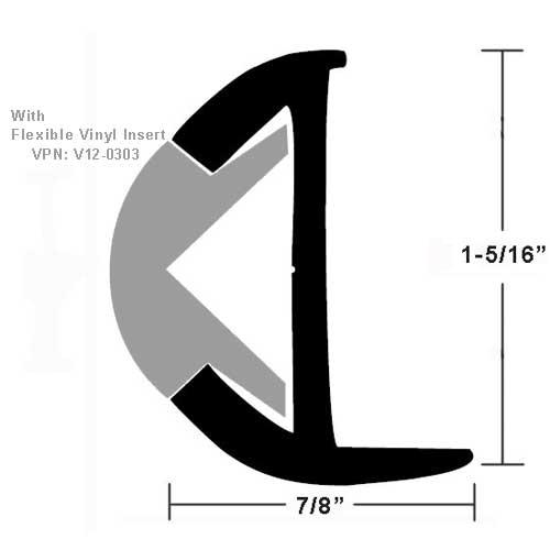 TACO Aluminum Rubrail - 1-5/16 H x 7/8 W x 12'L, #10 Screws