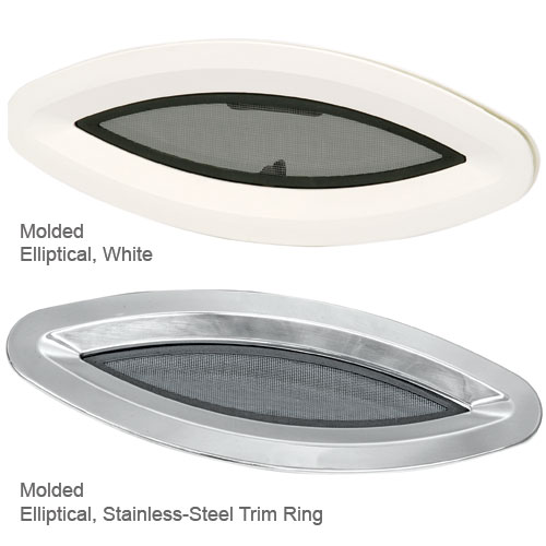 Bomar Elliptical Portlight, White with Stainless Steel Trim Ring, Cutout: 7 1/4 x 17 7/16, OD Finishing Ring: 8 1/4 x 18 7/16