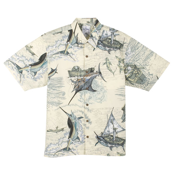 Guy Harvey Men's Santiago's Big Blue Button Shirt, Khaki, 2XL Sale $58.00 SKU: 7484553 ID# MH7930319XXL UPC# 54683857659 :