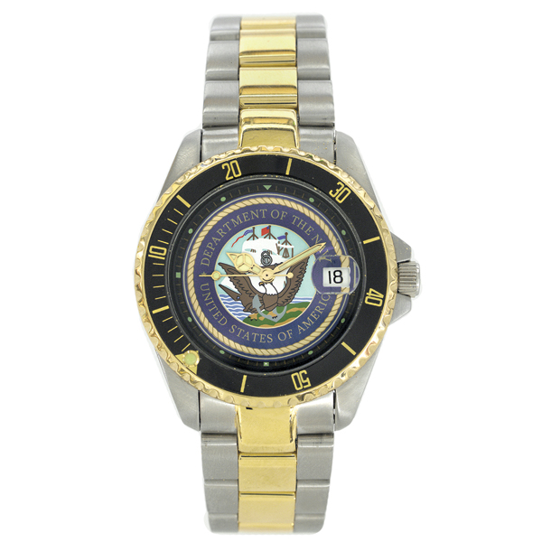 Del Mar U.S. Navy Waterproof Watch with Two-Tone Stainless-Steel Band