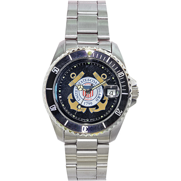 Del Mar U.S. Coast Guard Waterproof Watch with Stainless-Steel Band