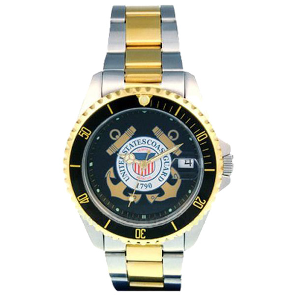 Del Mar U.S. Coast Guard Waterproof Watch with Two-Tone Stainless-Steel Band