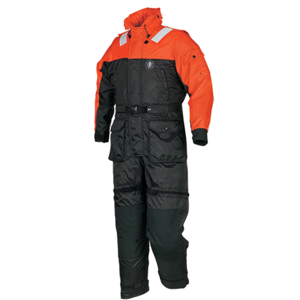Mustang Survival Anti-Exposure Work Suit, Large, 42-46 Chest , Black/Orange