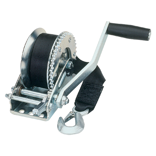 Fulton Trailer Winch, 1500lb. Load Capacity, 4.1:1 Gear Ratio, 20' x 5/16 Rope Capacity, 2 x 20'L Strap
