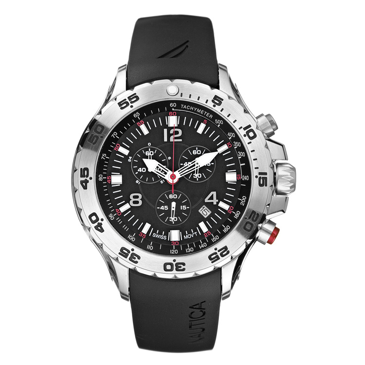 Nautica Chrono Watch, Black Dial, Black Polyurethane Strap