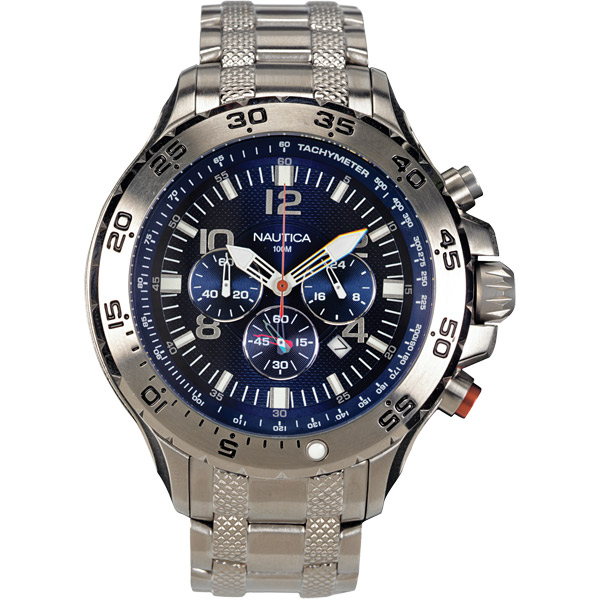 Nautica Men's NST Chrono Watch, Blue Dial, Stainless-Steel Bracelet Gray