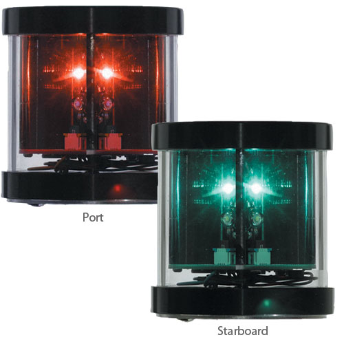 Orca Green Marine Port Running Light, 0.2A @ 12V DC Draw, 10–28V DC Voltage Range, 2.75H x 2.7D