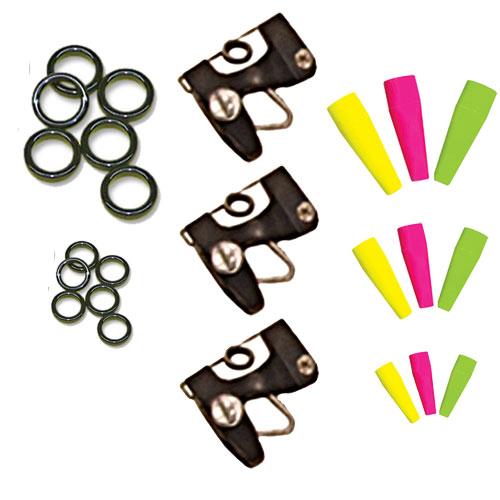 Tigress Clip Kite Kit—3 Release Clips, 3 Wind-On Swivels, 1 Coast Lock Swivel