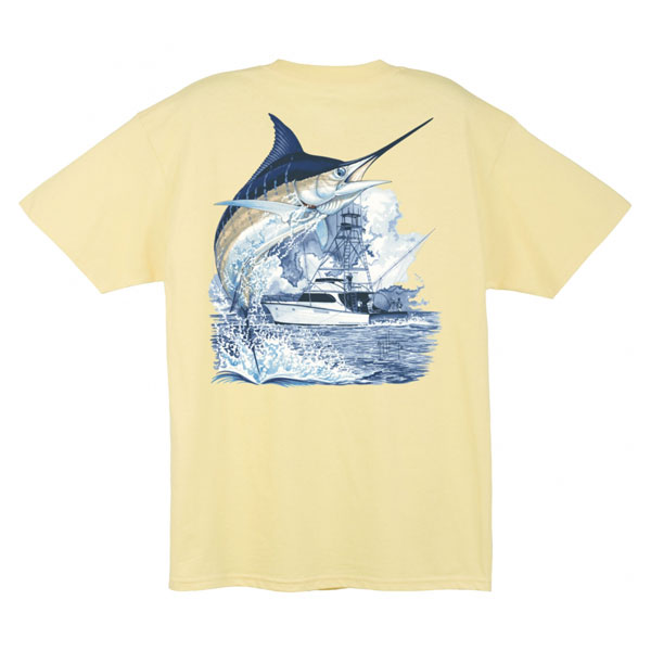 Men's Marlin Boat Short-Sleeve T-Shirt, Yellow, M