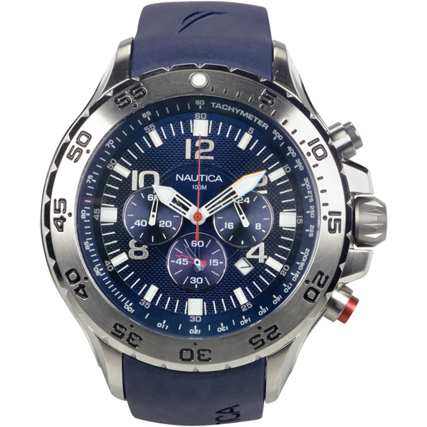 Nautica Men's NST Chrono Watch, Blue Dial/Navy Resin Strap