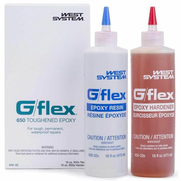 West System 650-32 G/flex Liquid Epoxy, 16oz. resin, 16oz. hardener