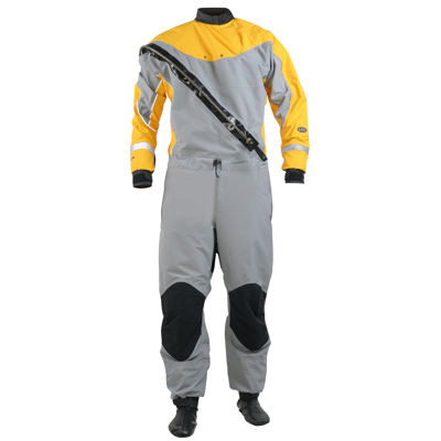 NRS Men's Extreme Dry Suit, Gray/Yellow, Extra Large