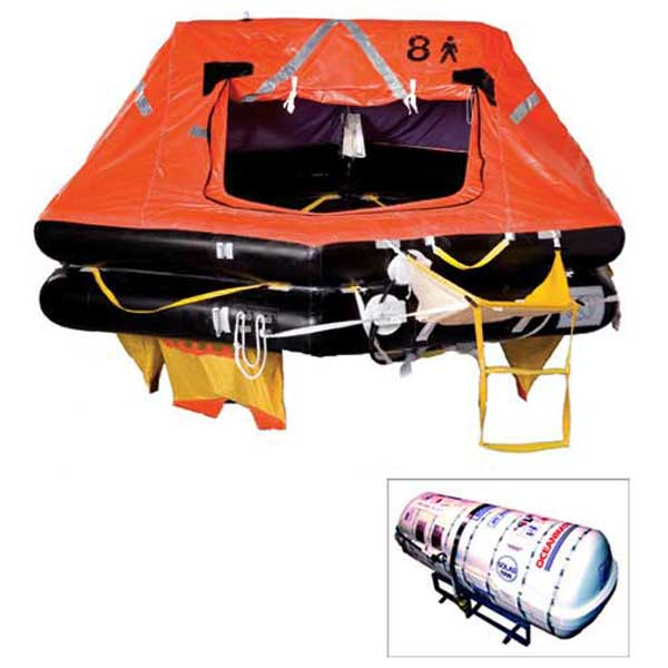 OceanMaster Life Raft, 12-Person, SOLAS A-Pack, Round Container