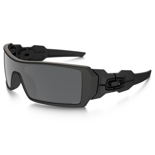 Oakley Eyewear Oil Rig Sunglasses, Matte Black Frames with Black Iridium Lenses