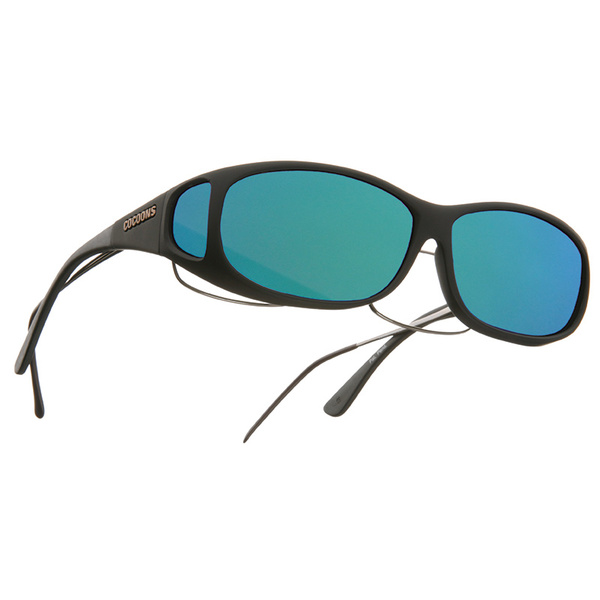 Cocoons Mini Slim Fitover Polarized Sunglasses, Black Frames with Black/green Mirror Mirror Lenses