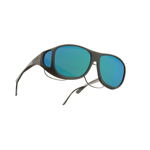Cocoons Pilot Fitover Polarized Sunglasses, Black Frames with Black/green Mirror Mirror Lenses
