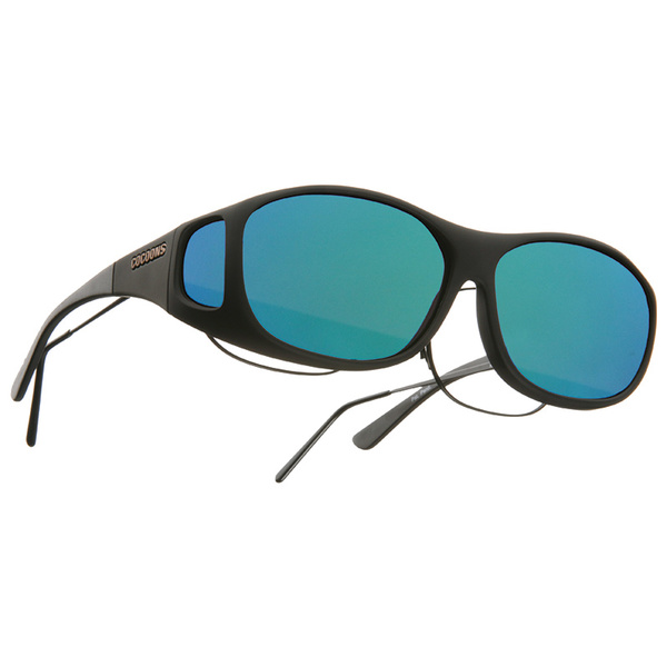Cocoons Slim Line Fitover Polarized Sunglasses, Black Frames with Black/green Mirror Mirror Lenses