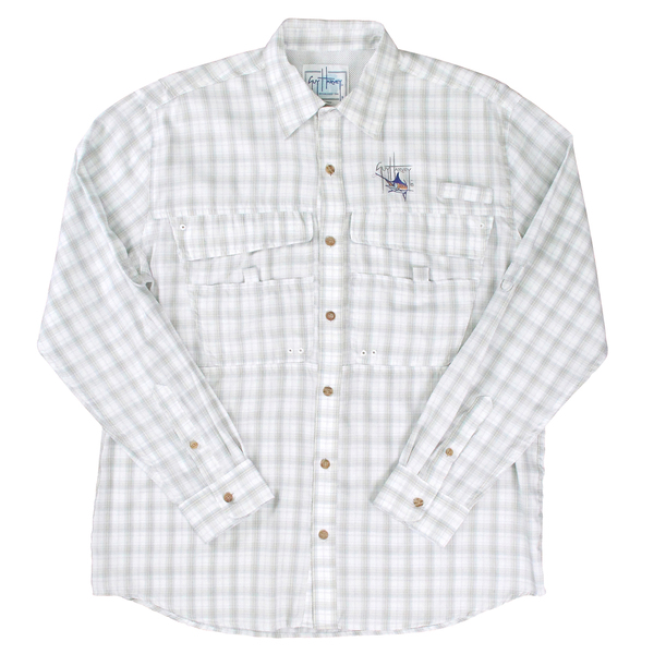 Guy Harvey Men's Sideshore Travel Tech Shirt White