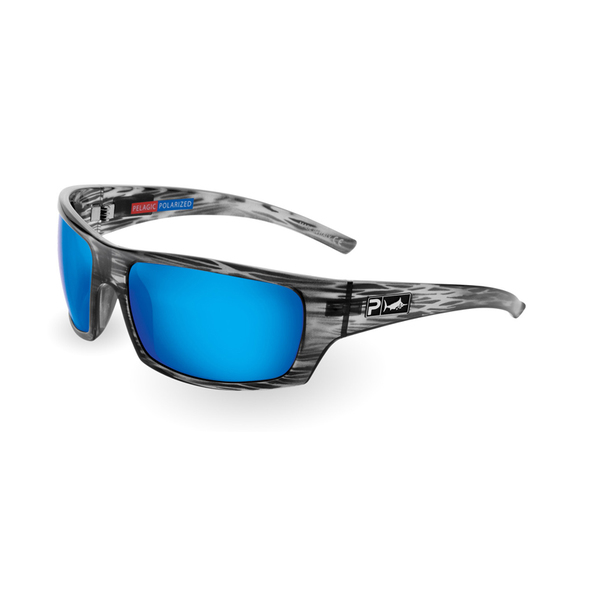 Pelagic The Mack Sunglasses, Silverwood Frames with XP-700 OCEAN Lenses Gray/blue