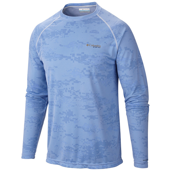 Columbia Men's PFG Solar Camo Long Sleeve Knit Shirt Blue