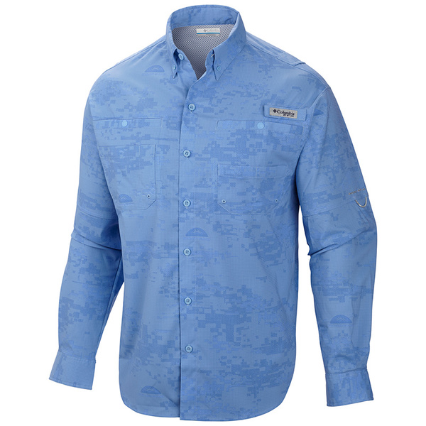 Columbia Men's PFG Solar Camo Long Sleeve Woven Shirt Blue
