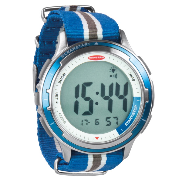 Ronstan Clear Start Stainless Steel Sailing Watch with Canvas Band Stainless Steel/canvas