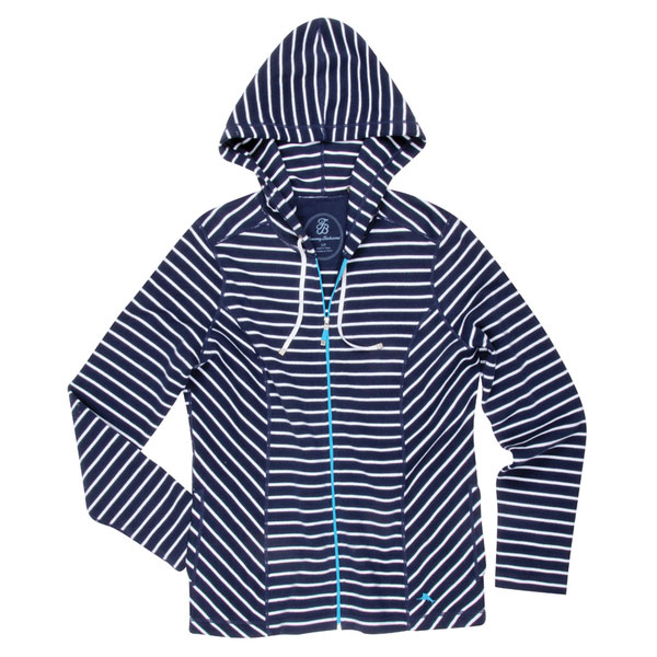Tommy Bahama Women's Aruba Stripe Full-Zip Hoodie Blue