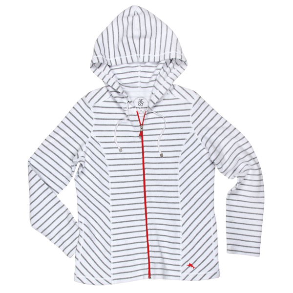 Tommy Bahama Women's Aruba Stripe Full-Zip Hoodie White
