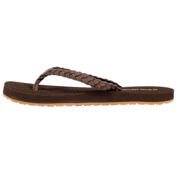Intricate braiding updates a buttery soft faux leather sandal that goes with everything from shorts to dresses.