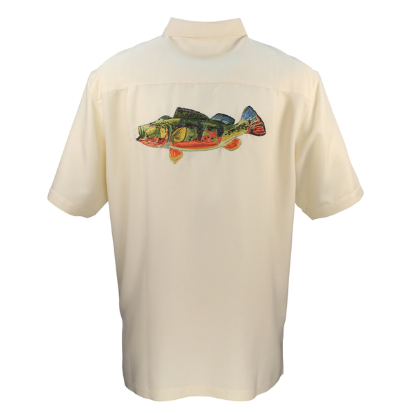 Hook & Tackle Men's Peacock Bass Shirt White