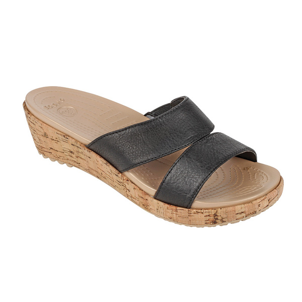 Crocs Women's A-Leigh Leather Mini Wedges Black/gold