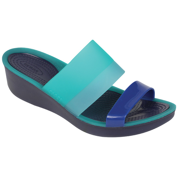 Crocs Womens's ColorBlock Translucent Mini Wedges Teal/navy