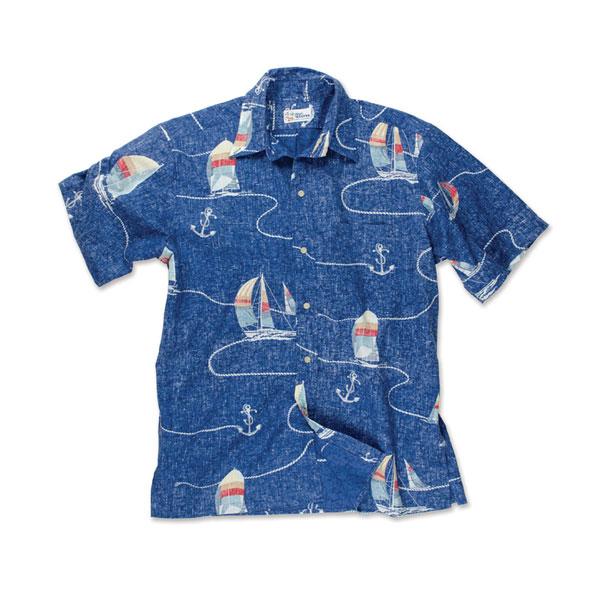 Reyn Spooner Men's Boat Lines Woven Shirt Blue