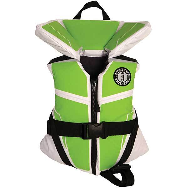 Mustang Survival Lil Legends Youth Life Vest, 30-50lb., White/Green
