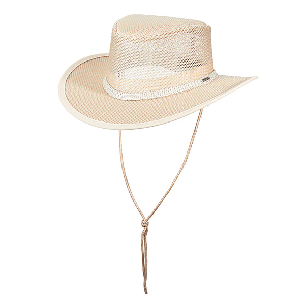 Dorfman Pacific Women's Mesh Covered Outback Hat Brown Sale $49.99 SKU: 16082364 ID# WMSTC205-NAT2 UPC# 16698473866 :