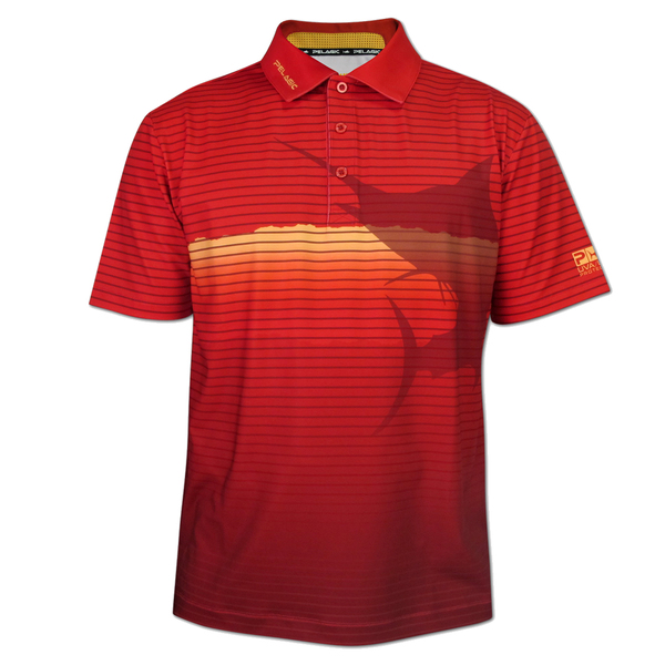 Pelagic Men's Marlin Performance Polo Shirt Orange