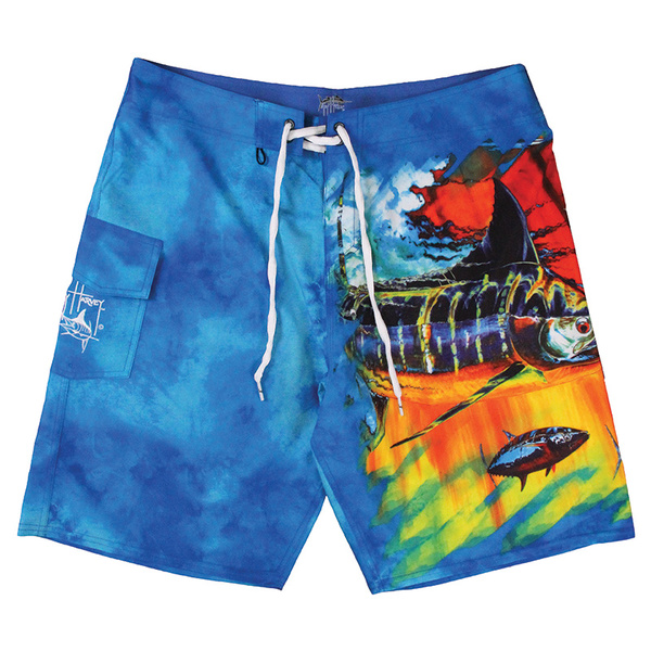 Guy Harvey Men's Mad Tropix Boardshorts Blue Sale $60.00 SKU: 16271371 ID# MH27402-BLU-32 UPC# 54683487917 :