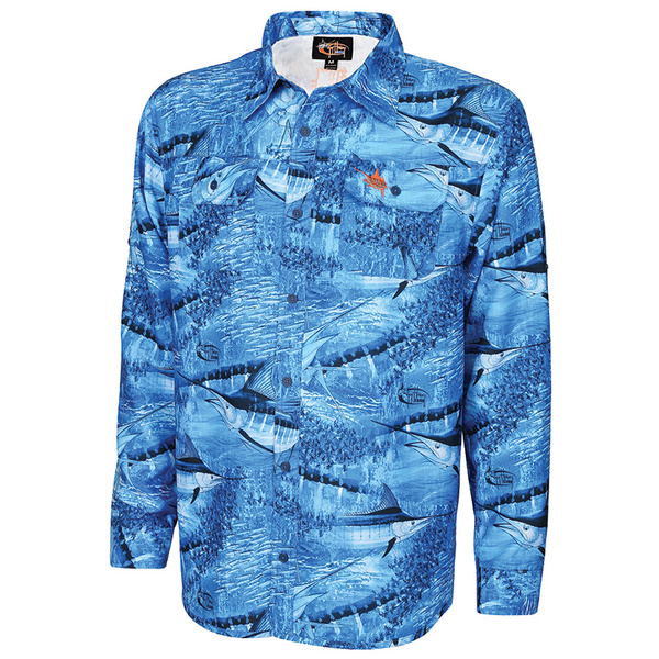 Guy Harvey Men's Legend Camo Performance Long-Sleeve Woven Shirt Blue