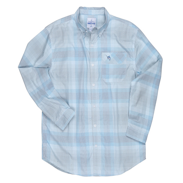 Guy Harvey Men's Griddle Fish Long-Sleeve Woven Shirt Blue Sale $55.00 SKU: 16271926 ID# MH78110-BLU-L UPC# 54683491563 :