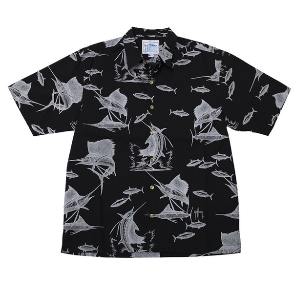 Guy Harvey Men's Sailfish Etching Short-Sleeve Woven Shirt Black Sale $58.00 SKU: 16272171 ID# MH79363-BLK-XL UPC# 54683427791 :
