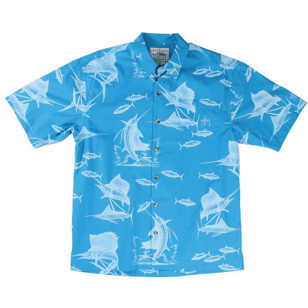 Guy Harvey Men's Sailfish Etching Short-Sleeve Woven Shirt Blue