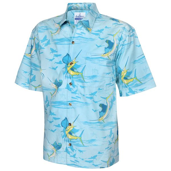 Guy Harvey Men's Sailfish Shadow Woven Shirt Blue