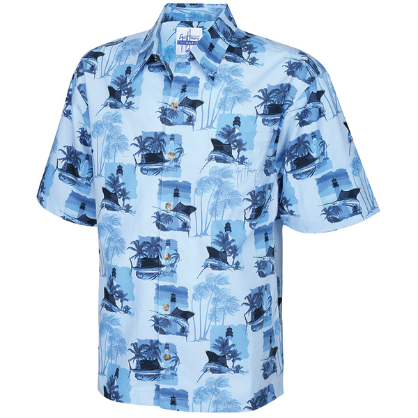 Guy Harvey Men's Vintage Lighthouse Woven Shirt Blue
