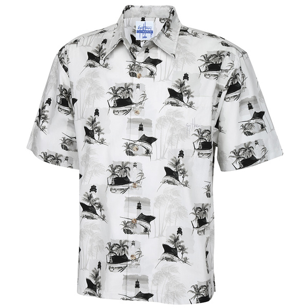 Guy Harvey Men's Vintage Lighthouse Woven Shirt Gray