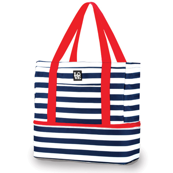 Love Bags Beach Tote Cooler Navy/white