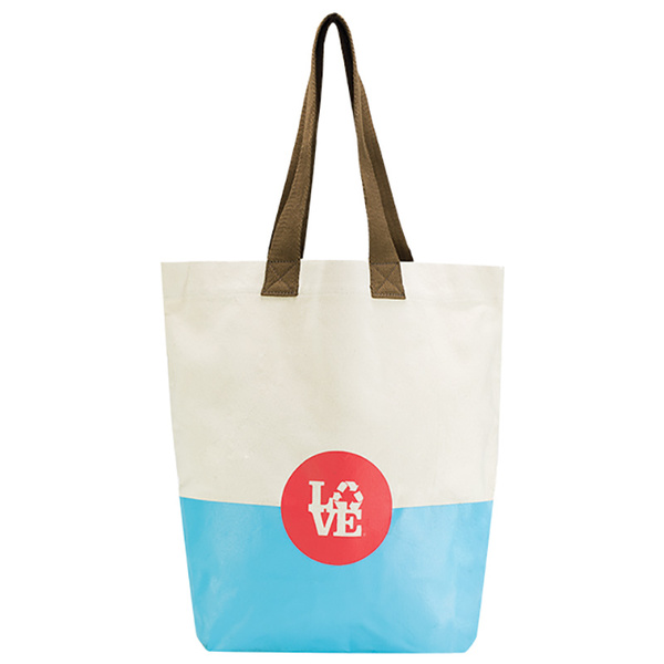 Love Reusable Bags Rubber Bottom Tote Blue/tan