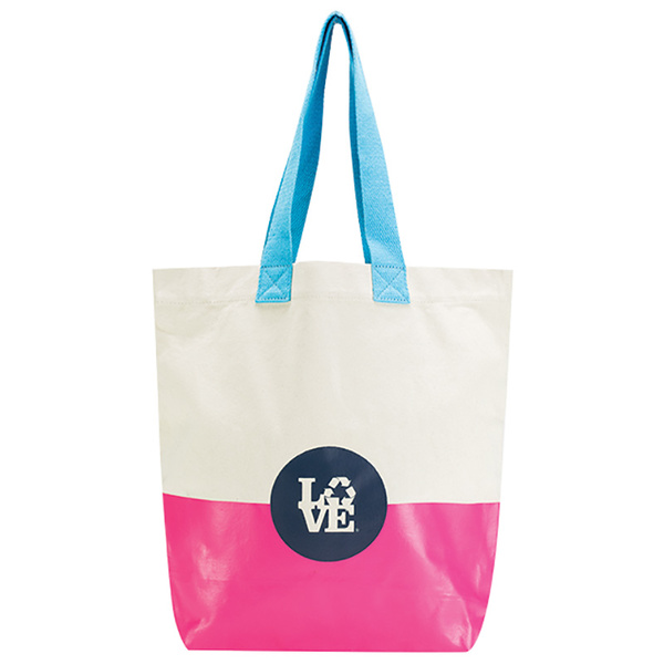 Love Reusable Bags Rubber Bottom Tote Pink