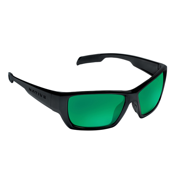 Native Eyewear Ward Polarized Sunglasses, Asphalt Frames with Gray/green Reflex Lenses
