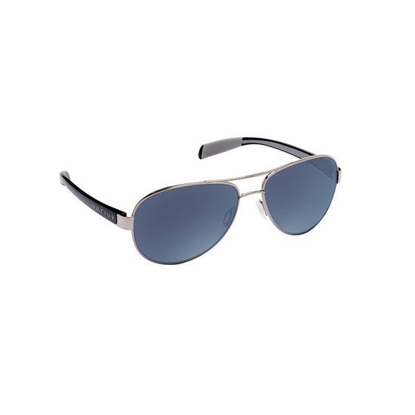Native Eyewear Patroller Polarized Sunglasses Chrome Iron Frames with Black/blue Reflex Lenses