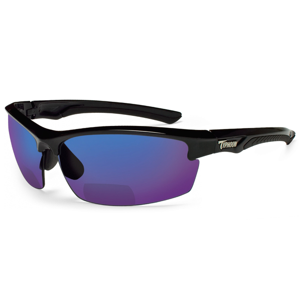 Typhoon Optics Reader Mariner II Sunglasses +2.5, Black Frames with Black/blue Mirror Lenses